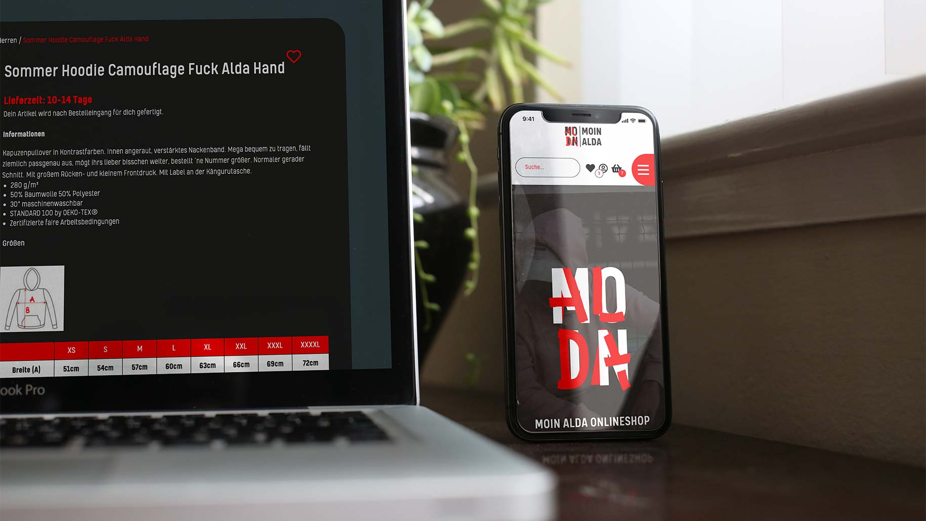 Screendesign von Moin-Alda.Shop-by Wilke Zierden - auf Smartphone und Laptop